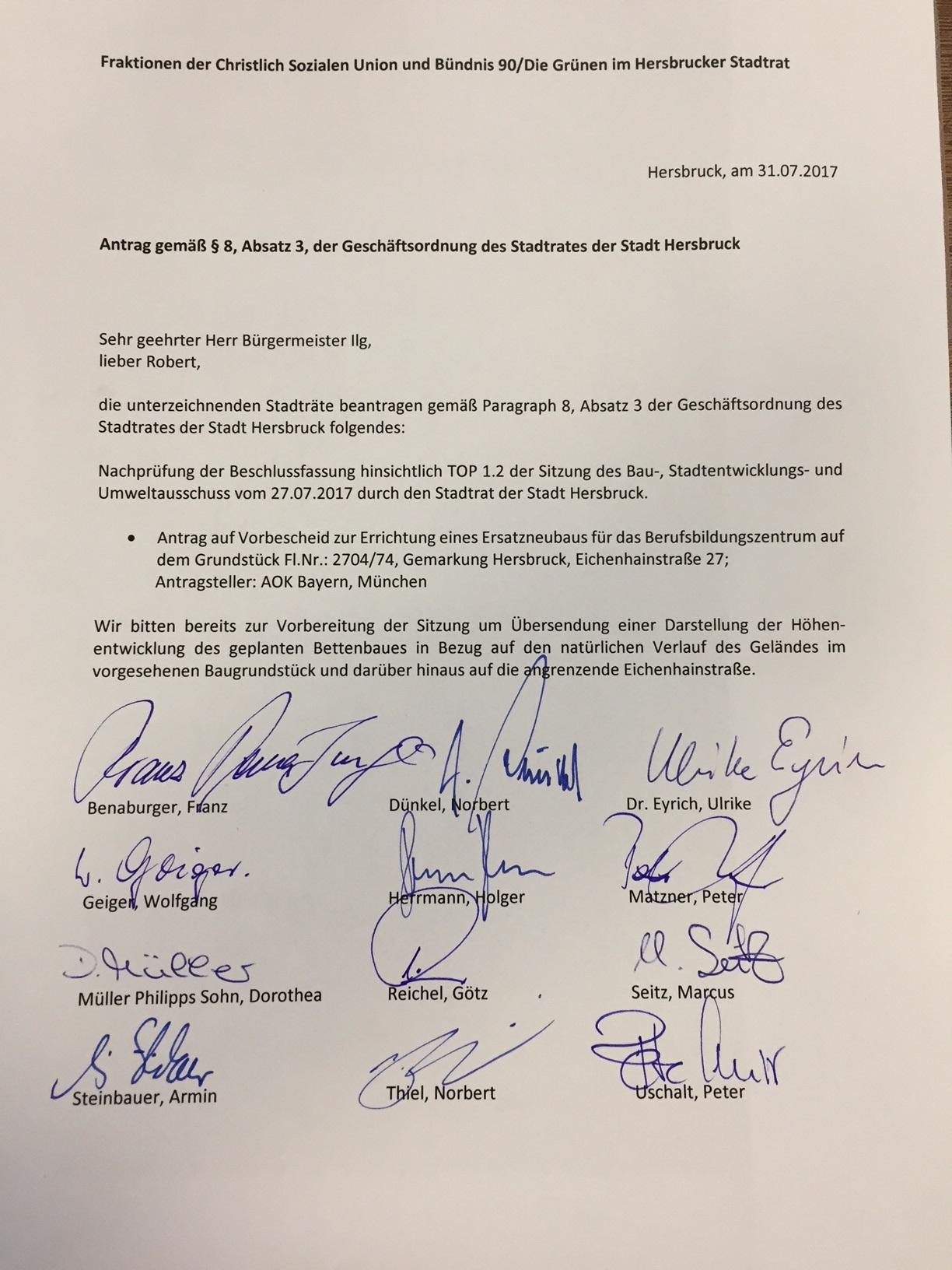 2017.07.31 CSU_GRÜNE_Antrag_Sondersitzung_AOK